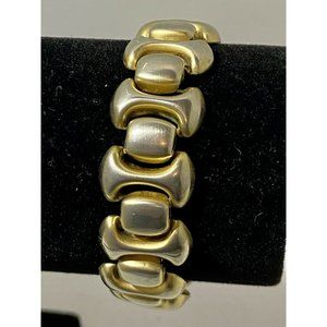 Vintage Signed Monet Wide Chunky Gold Tone Link